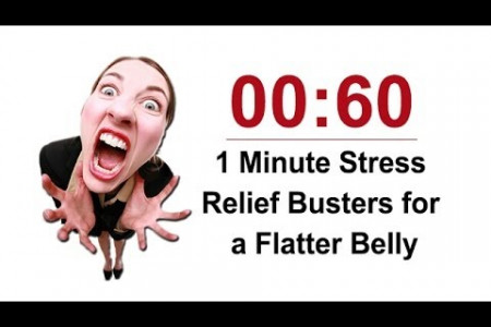 1 Minute Stress Relief Busters for a Flatter Belly Infographic