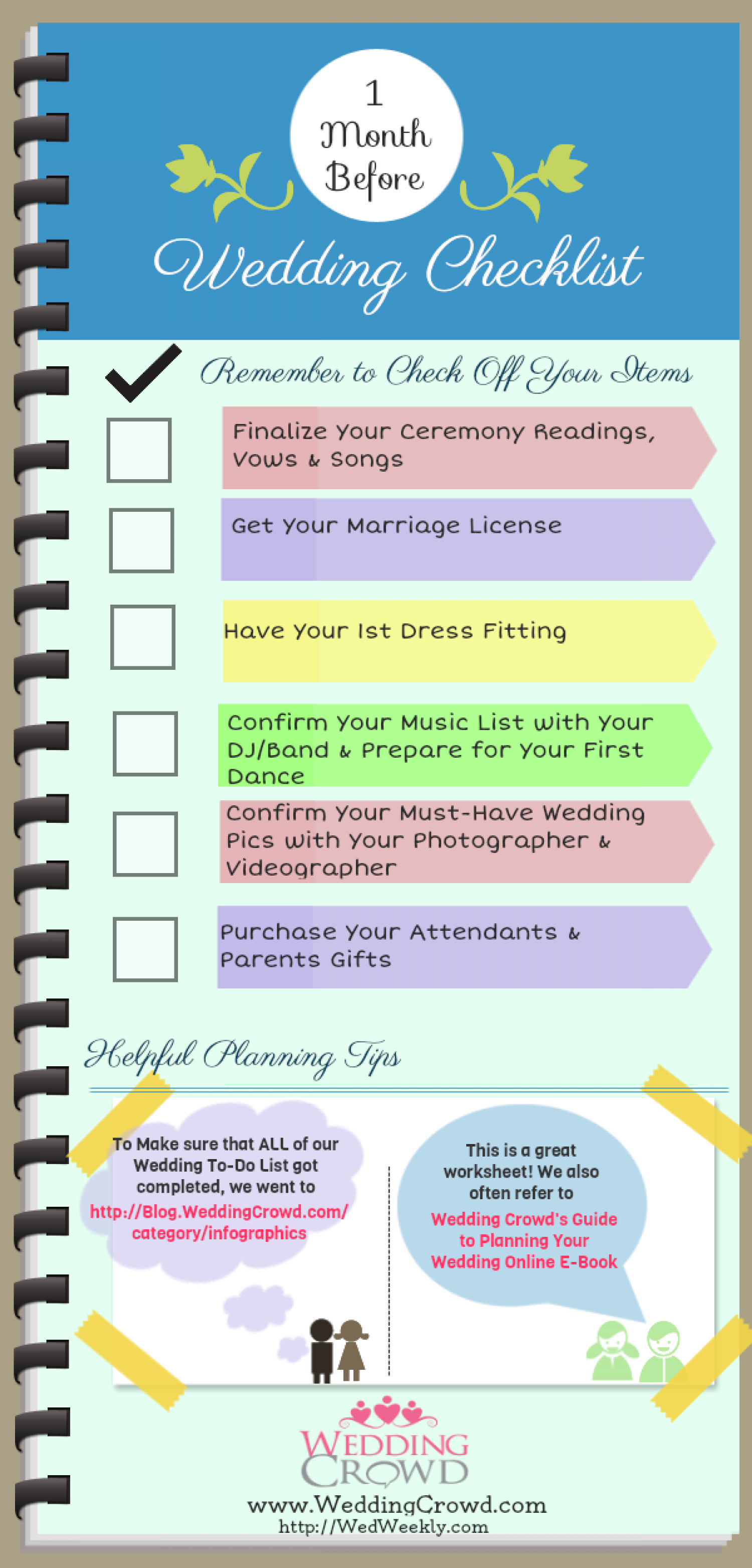 1 Month Before Wedding Planning Checklist Infographic