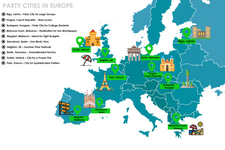 10 Best Party Cities in Europe (Map) Infographic