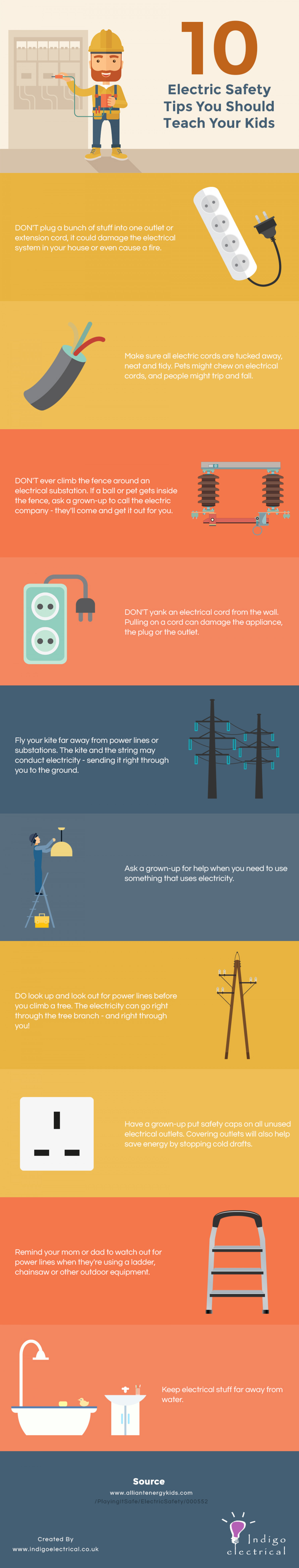 10 Electric Safety Tips You Should Teach Your Kids Infographic