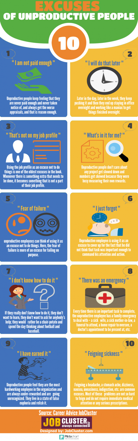 10 Excuses of Unproductive People
