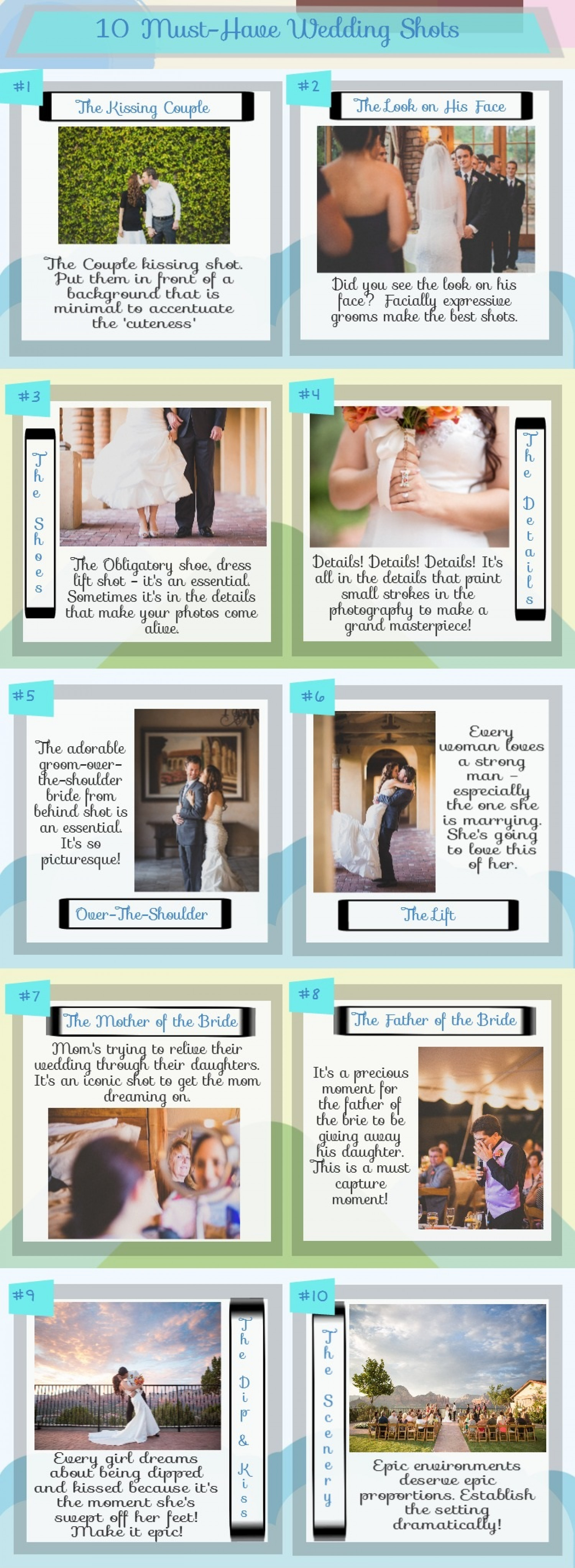 10 Must-Have Wedding Shots Infographic
