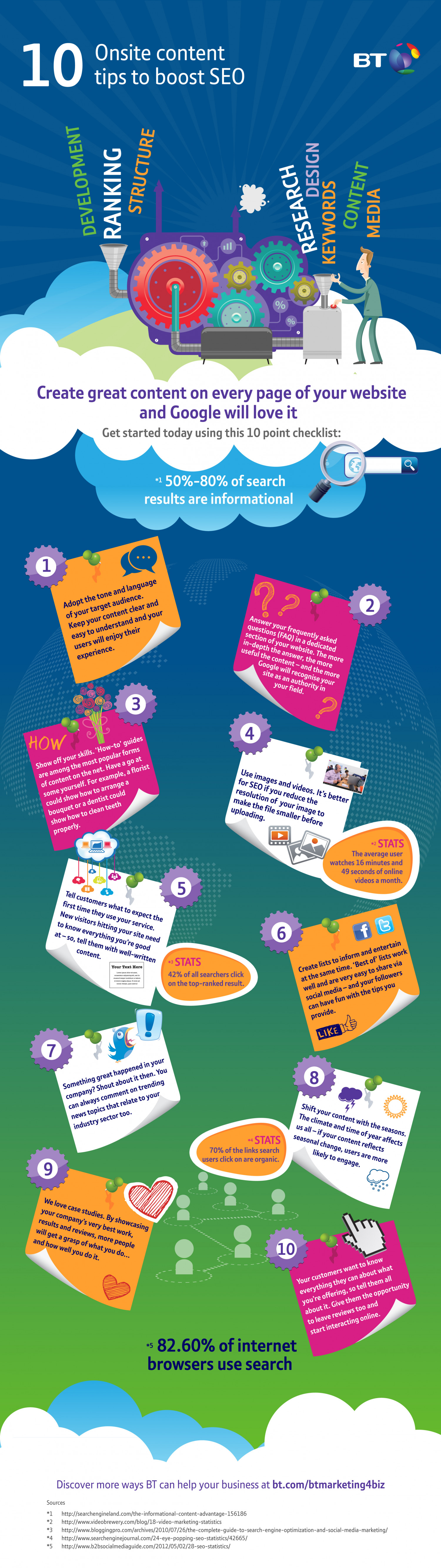 10 onsite content tips to boost SEO Infographic