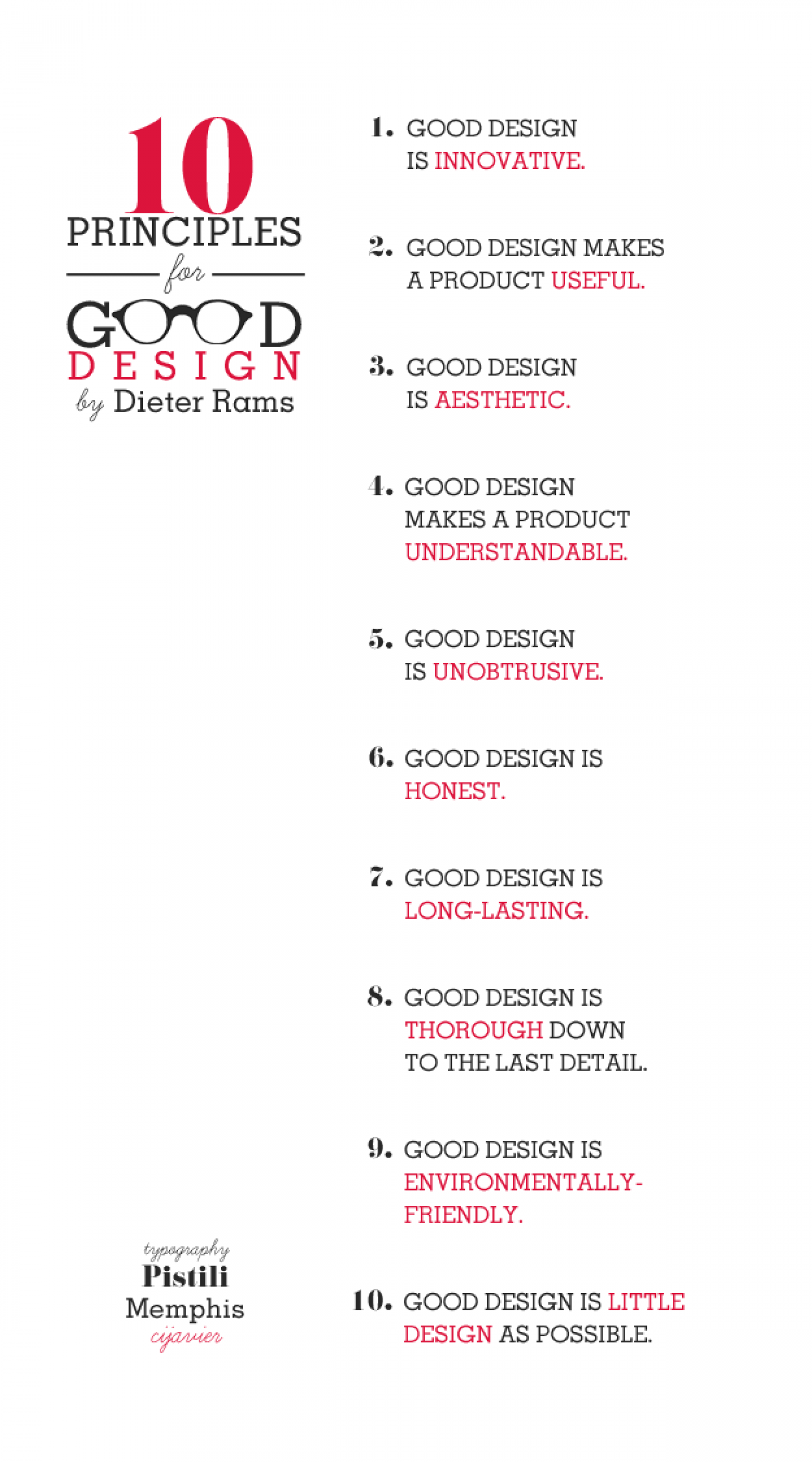10 Principles for Good Design Infographic