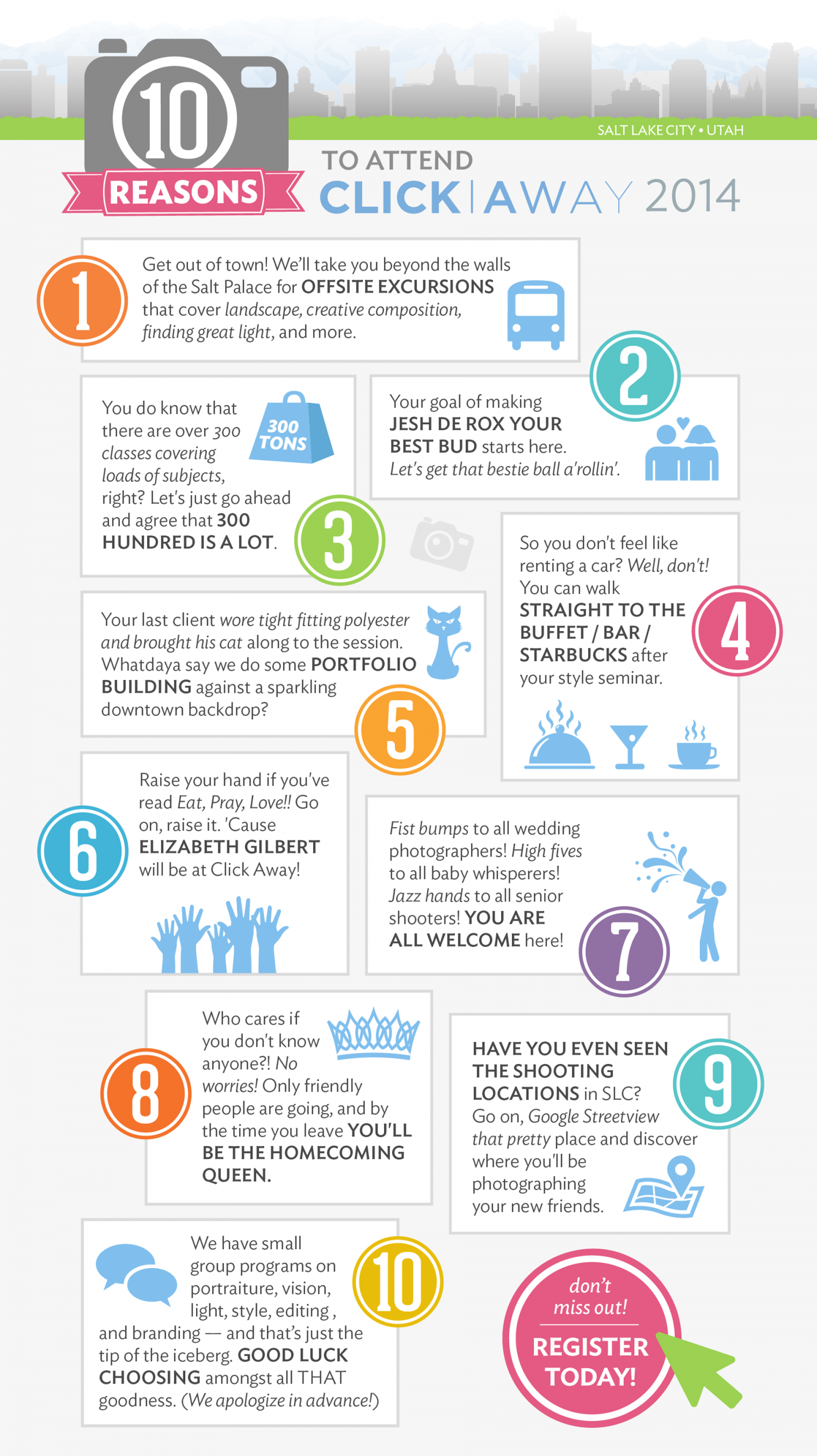 10 Reasons to Attend Click Away 2014 Infographic