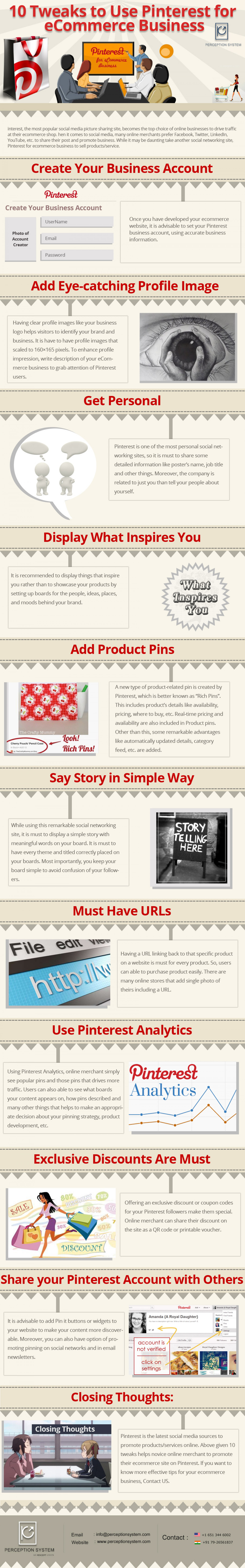10 Tweaks to use Pinterest for eCommerce Business Infographic
