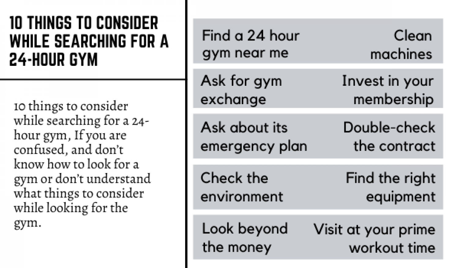 10 THINGS TO CONSIDER WHILE SEARCHING FOR A 24-HOUR GYM Infographic