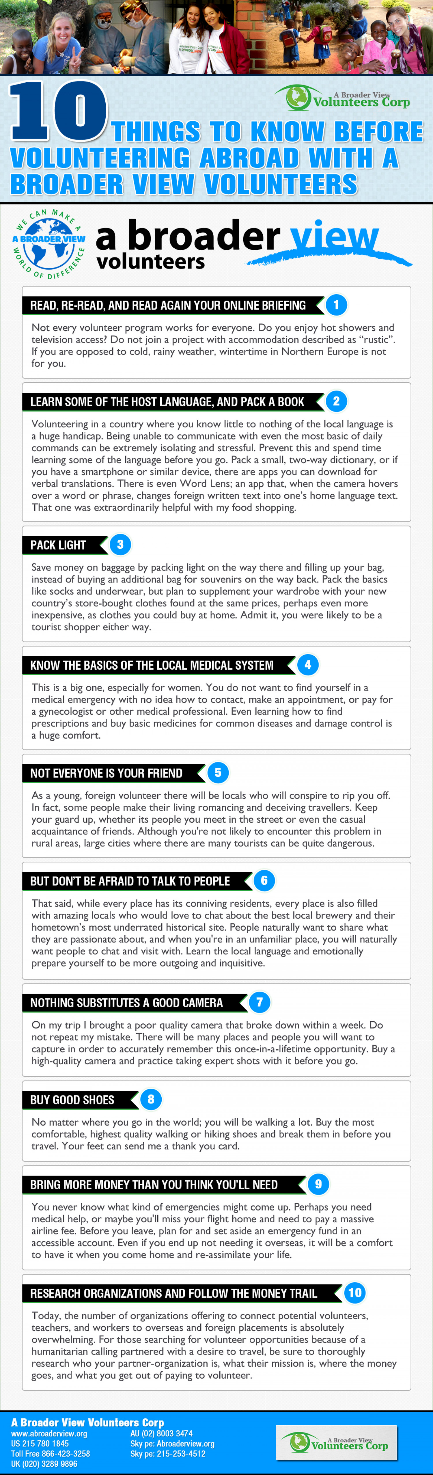 10 Things to Know Before Volunteering Abroad with A Broader View Volunteers Infographic