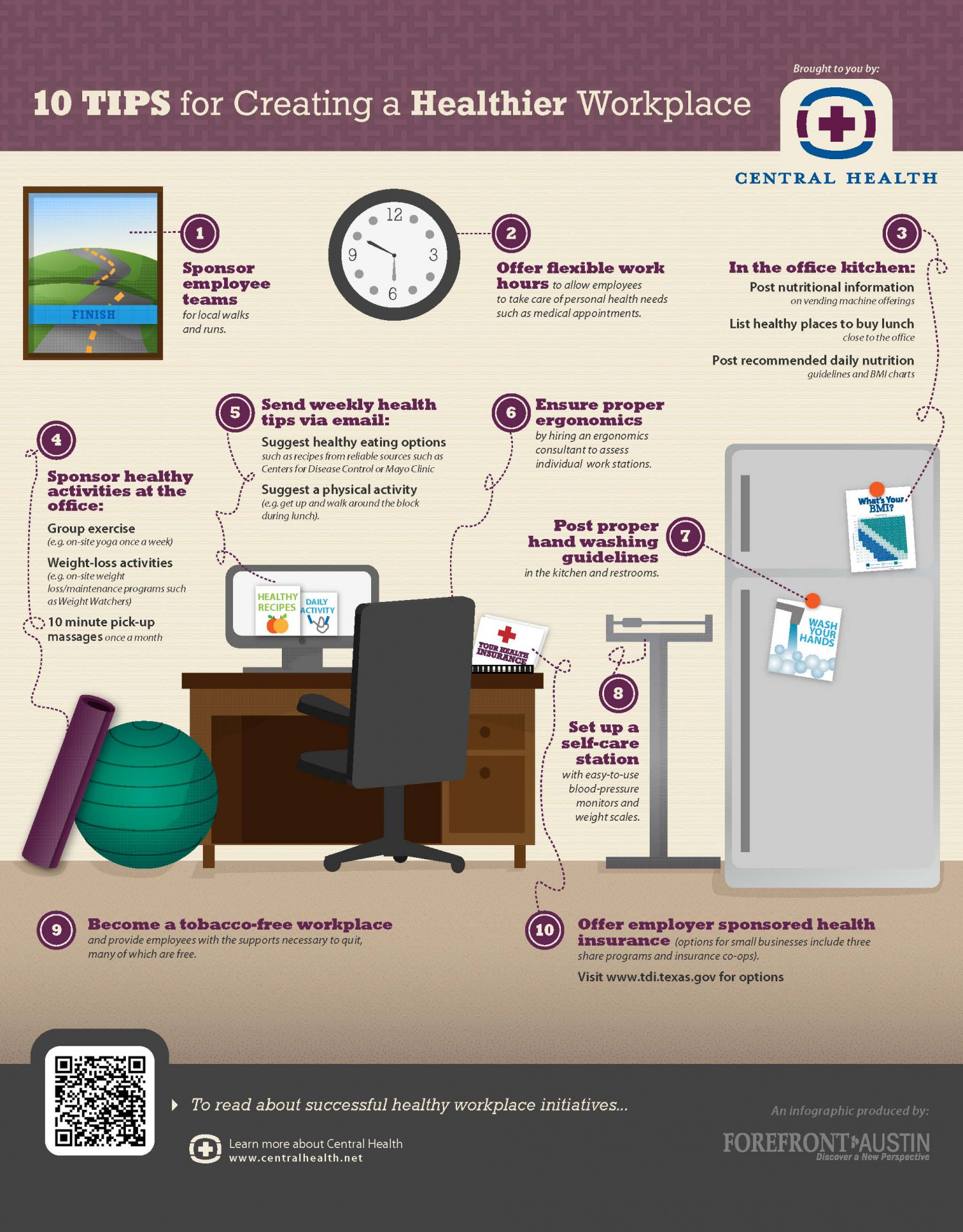 10 Tips for Creating a Healthier Workplace Infographic