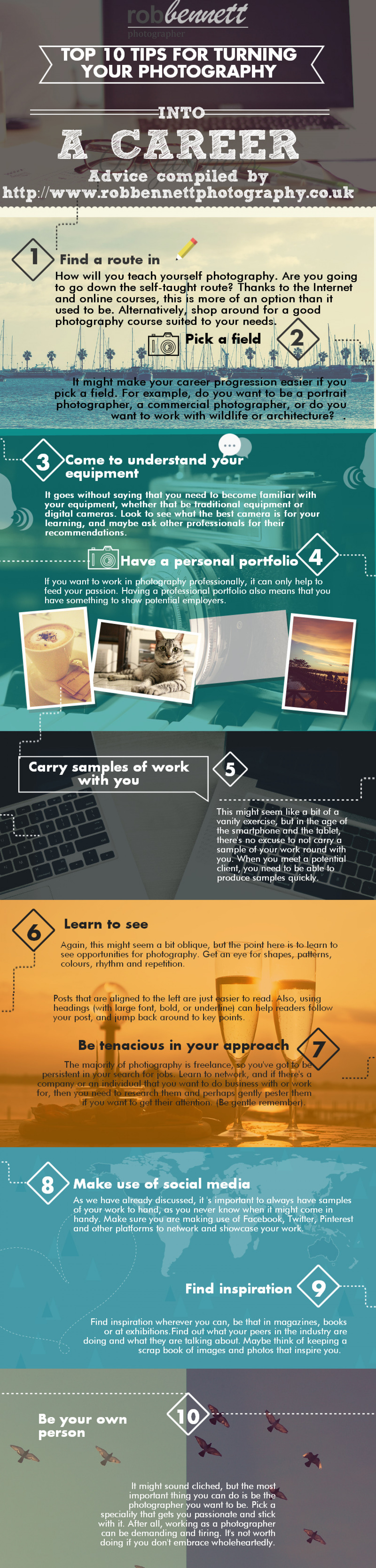 10 Tips for Turning Photography into a Career Infographic