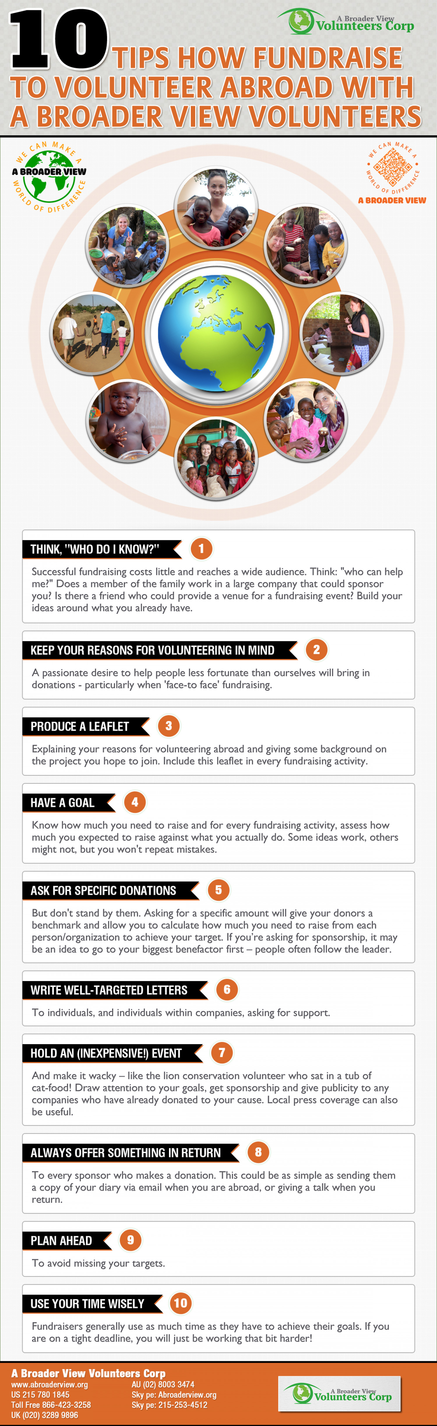10 Tips How Fundraise to Volunteer Abroad with A Broader View Volunteers Infographic