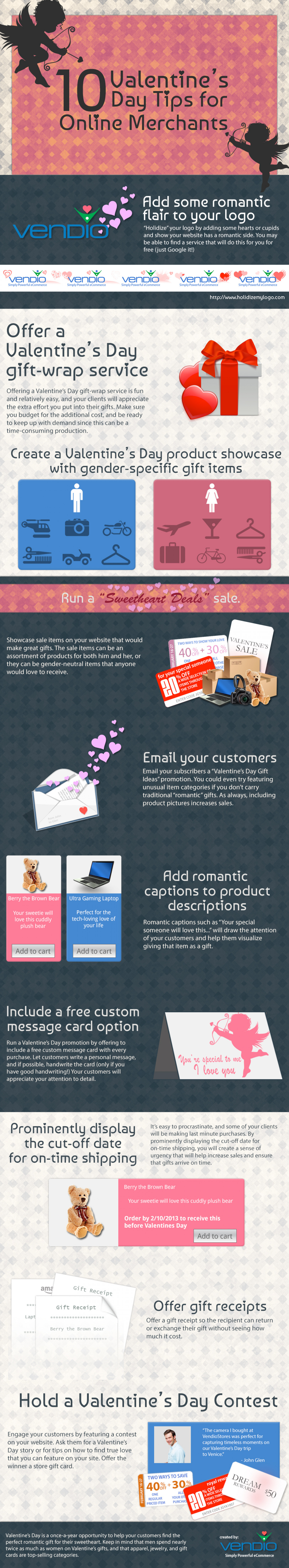 10 Valentine's Day Tips for Ecommerce SMB Merchants Infographic