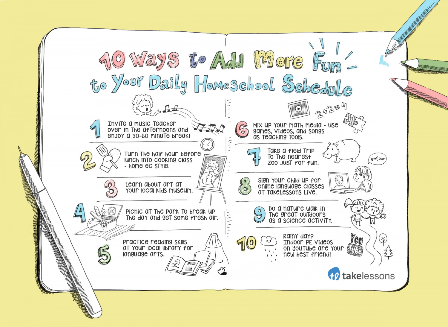 10 Ways to Add More Fun to Your Daily  Homeschool Schedule Infographic