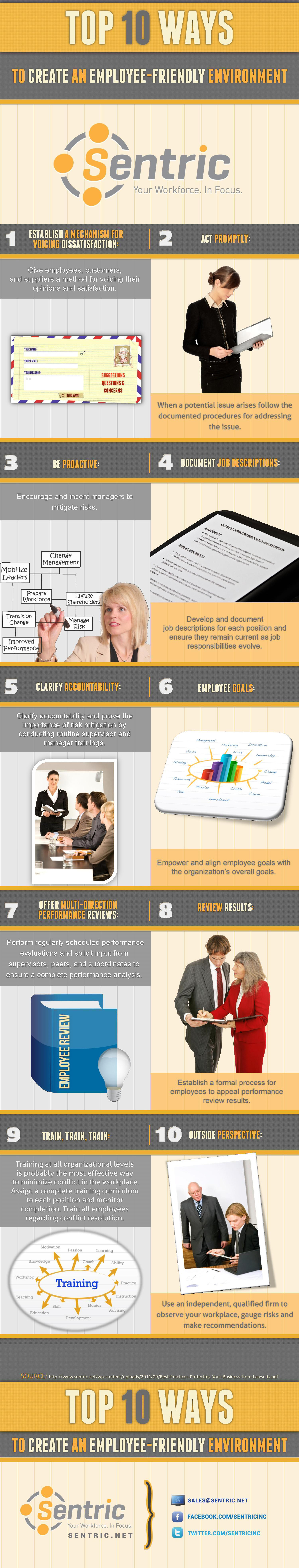 10 Ways to Create an Employee-Friendly Environment Infographic