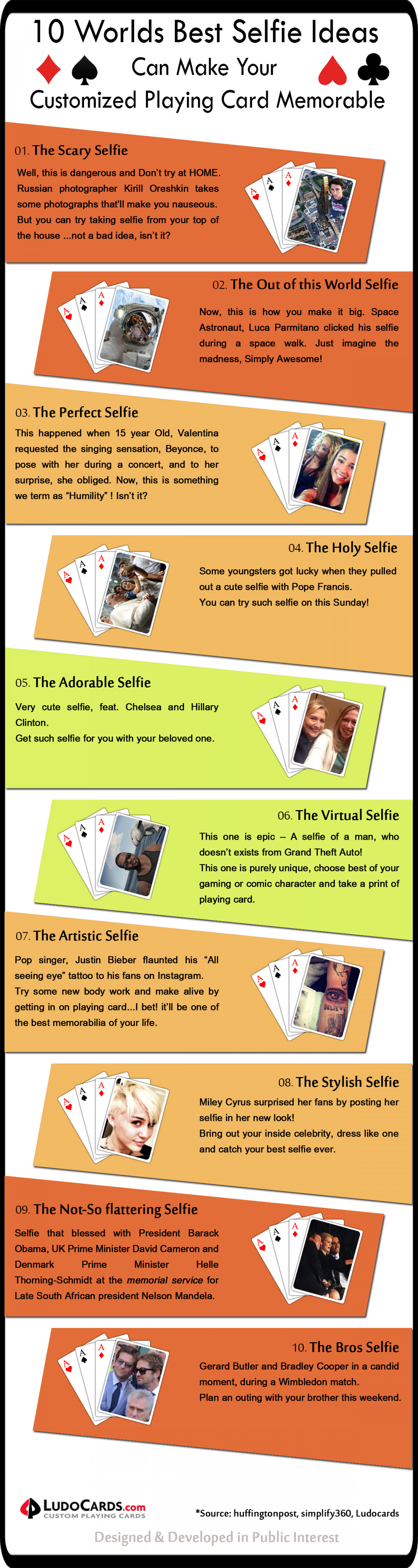10 Worlds Best Selfie Ideas Can Make Your Customized Playing Card Memorable Infographic