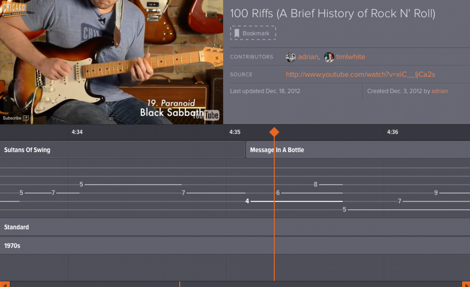 100 Riffs (A Brief History of Rock N' Roll) Infographic