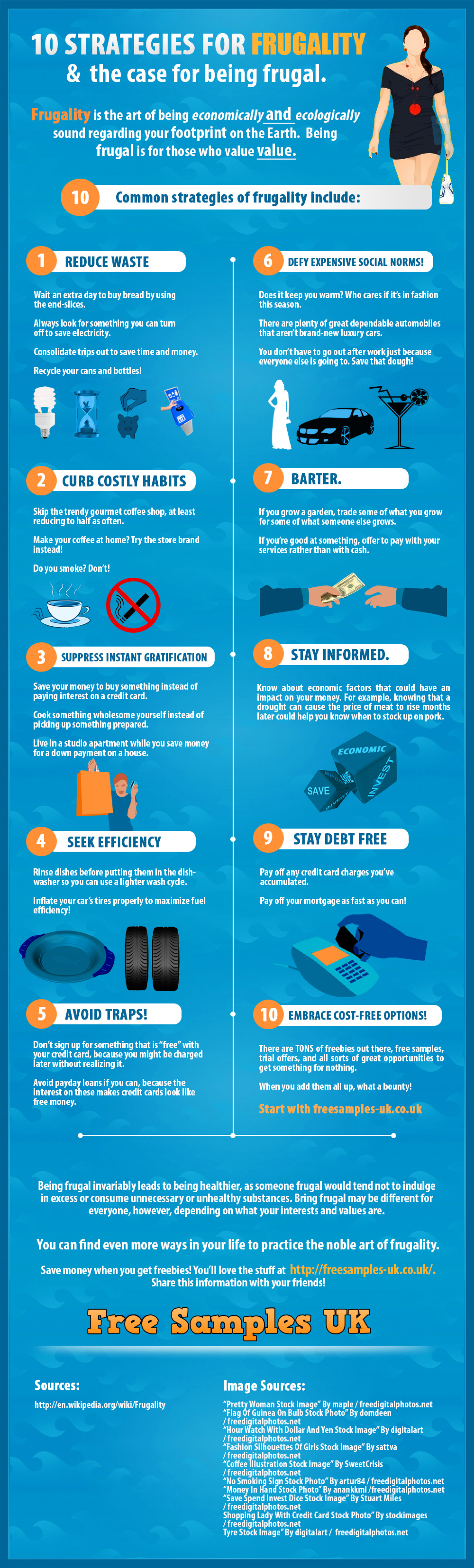 10 Strategies for Frugality & the case for being frugal. Infographic
