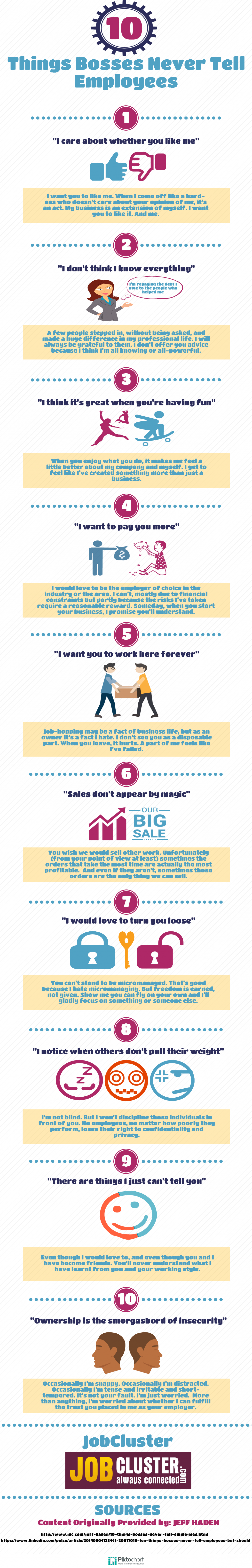 10 Things Bosses Never Tell Employees Infographic
