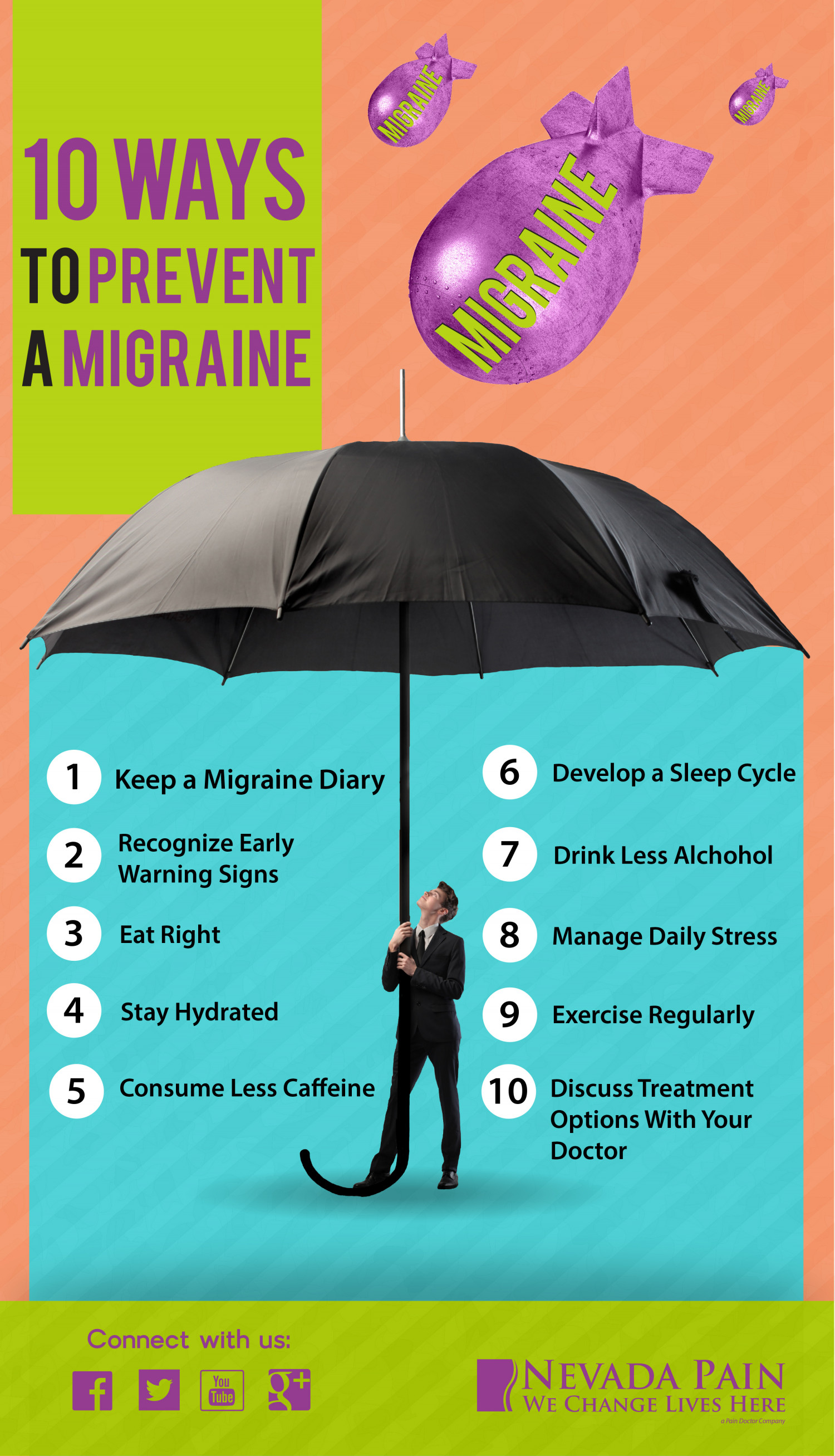 10 Ways to Prevent a Migraine Infographic