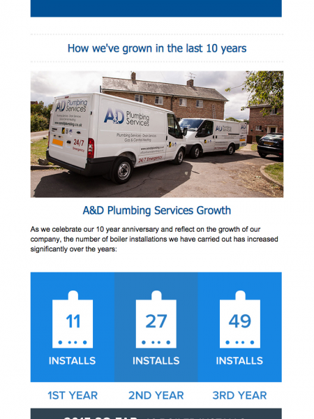 10 Years of A&D Plumbing Services Infographic