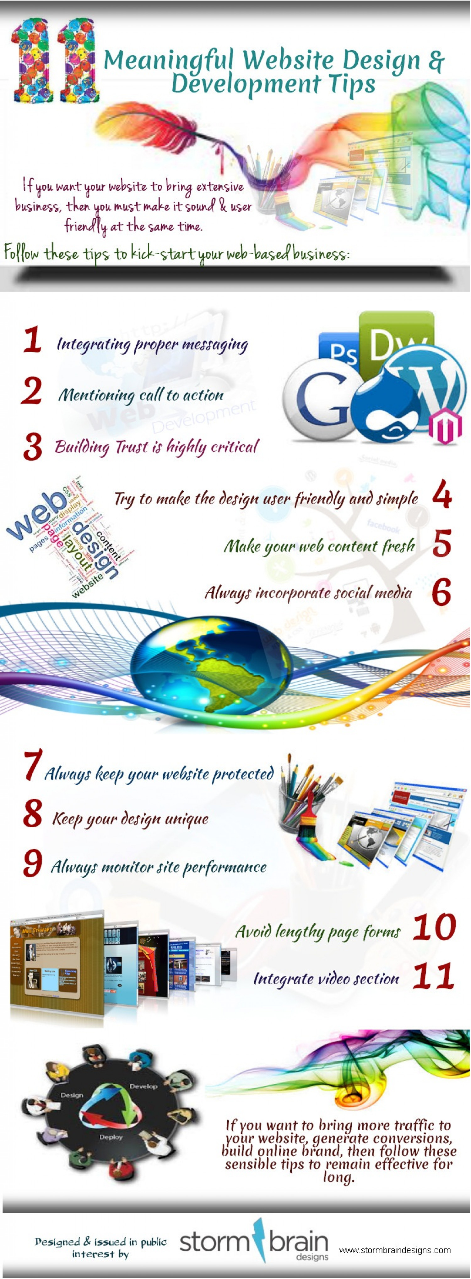 11 Meaningful Website Design and Development Tips Infographic