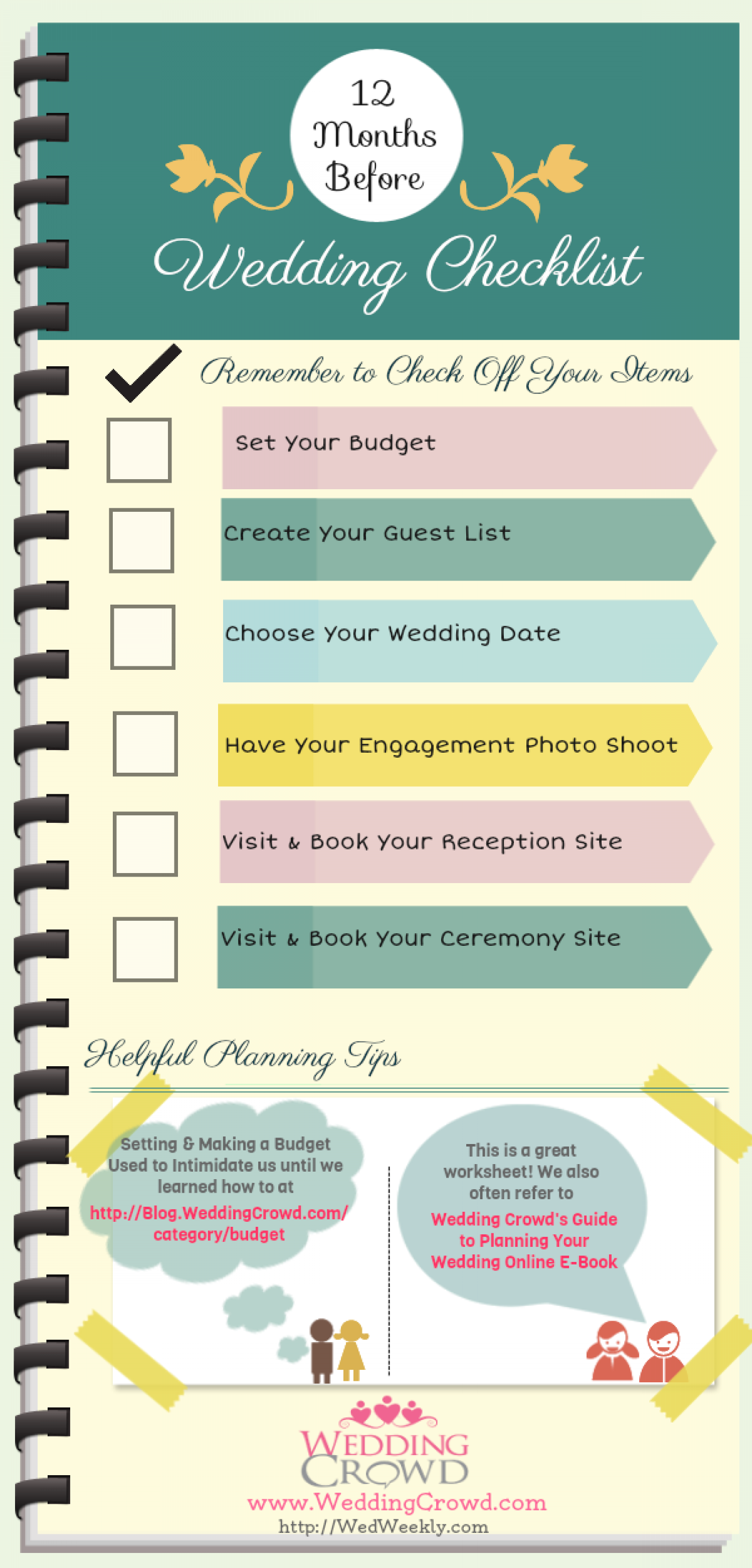 12 Months Before Wedding Planning Checklist Visual Ly