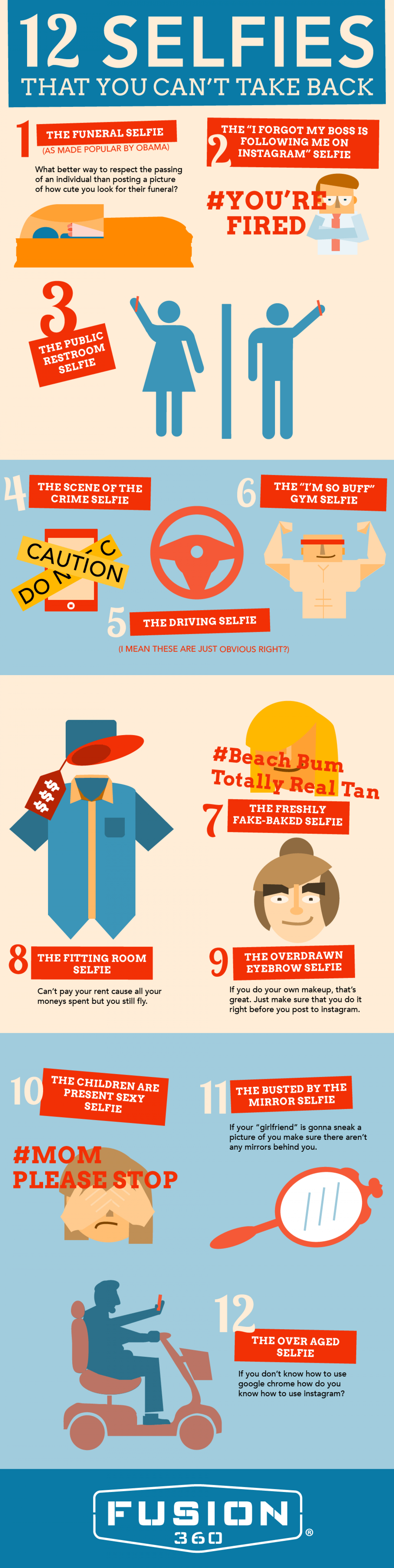 12 Selfies That You Can't Take Back Infographic