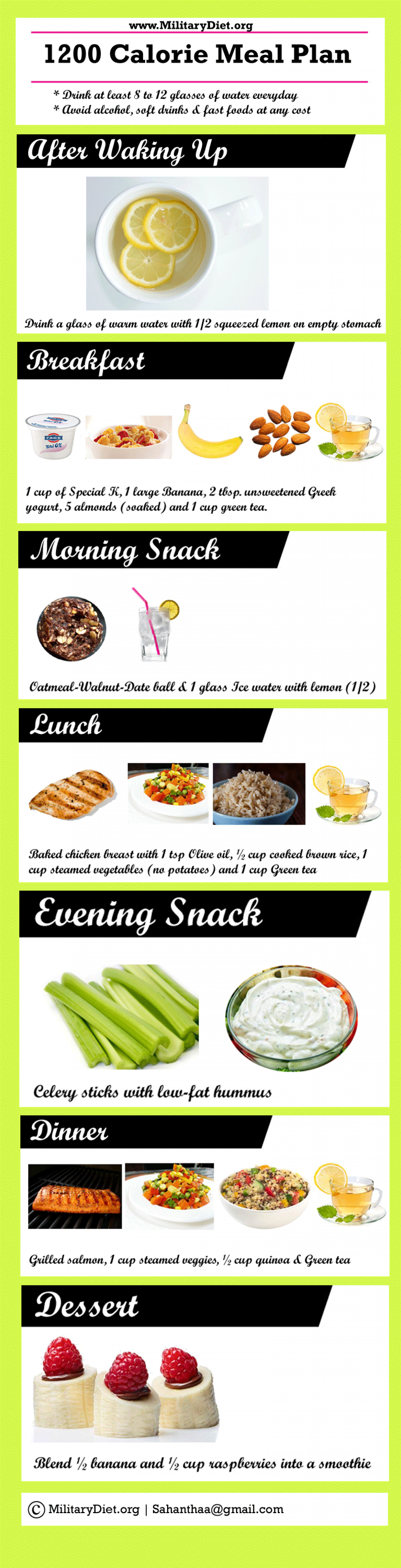 1200 Calorie Meal Plan Sample Menu for Weight Loss | Visual.ly