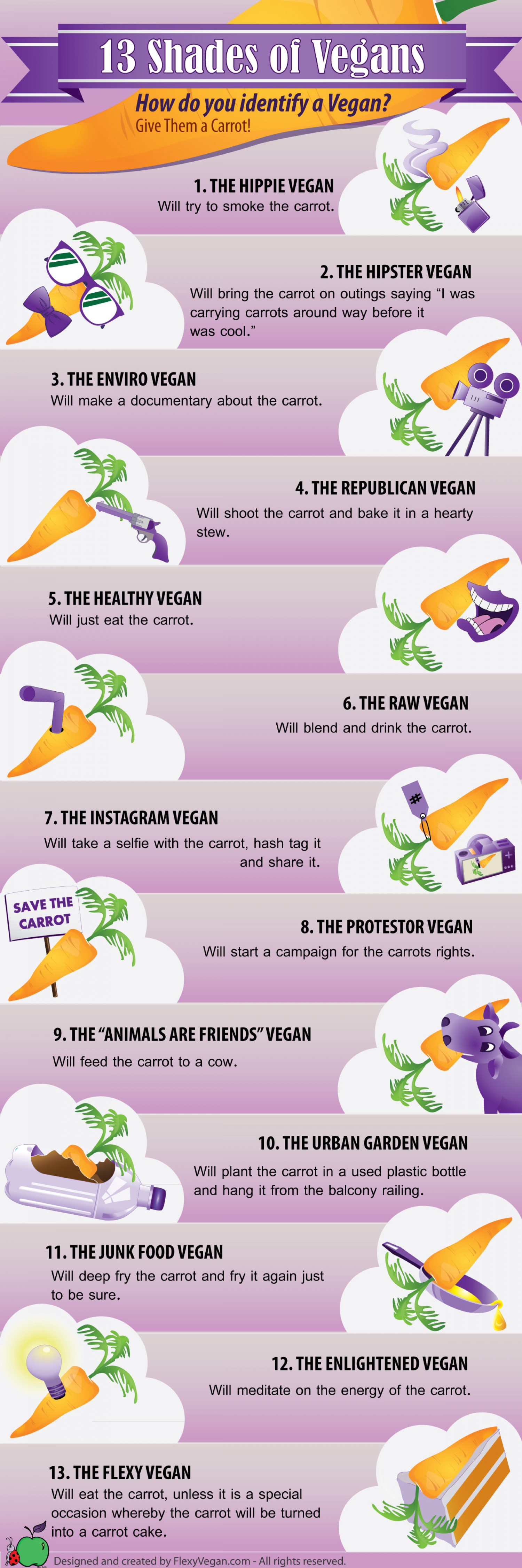 13 shades of Vegans Infographic