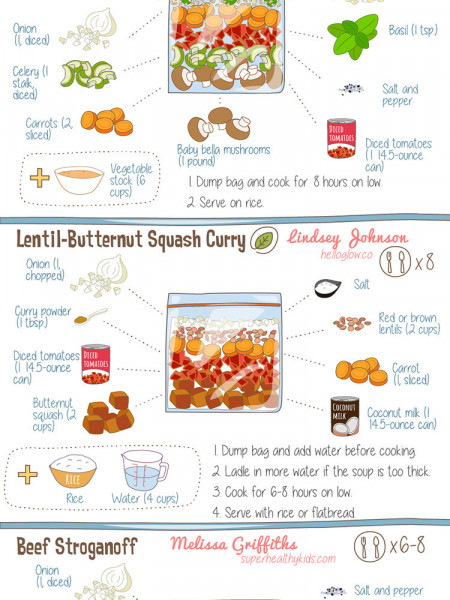 15 Easy Make-Ahead Freezer-Bag Meals to Toss In the Slow Cooker Infographic