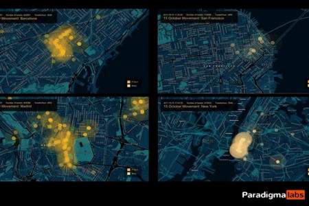 15 October protests on SF, NYC, Madrid and Barcelona Infographic