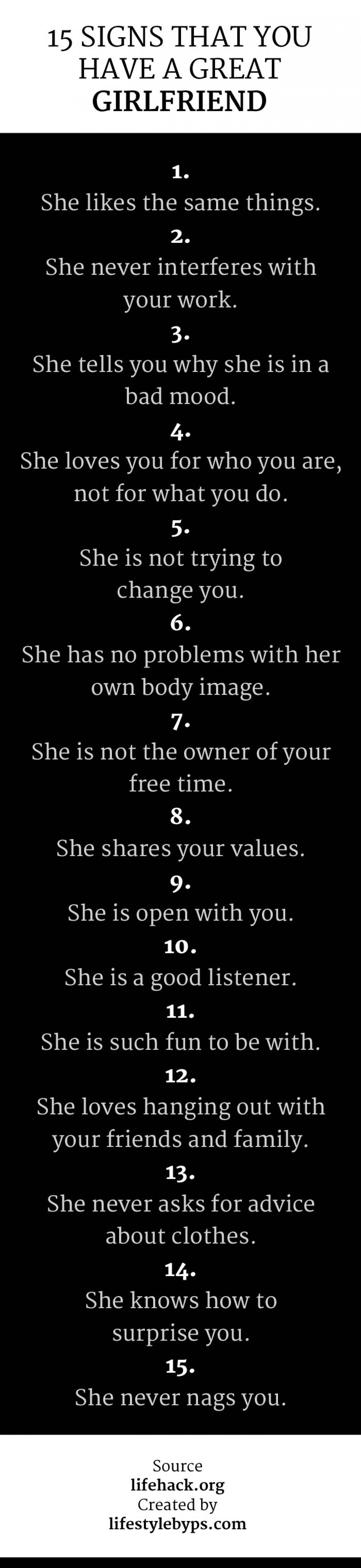 15 Signs That You Have A Great Girlfriend  Infographic