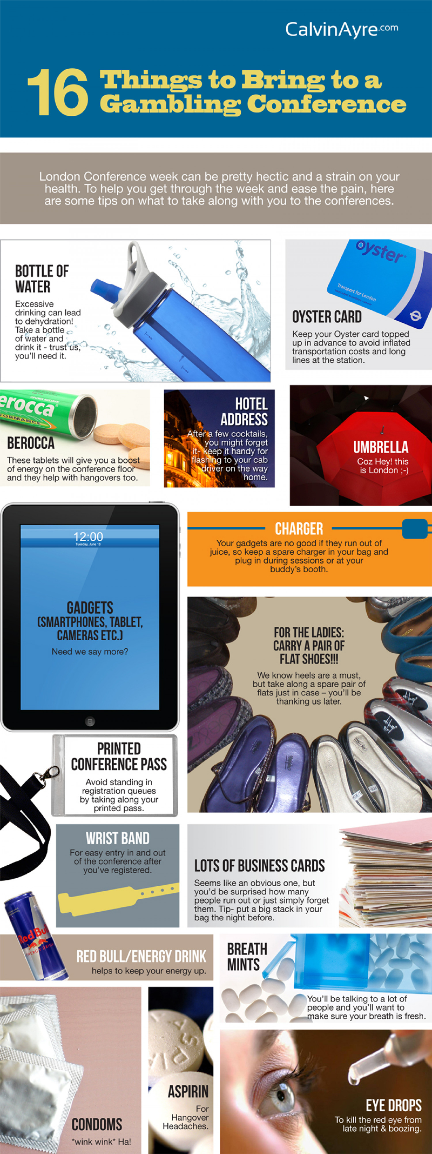 16 Things to Bring to a Gambling Conference Infographic