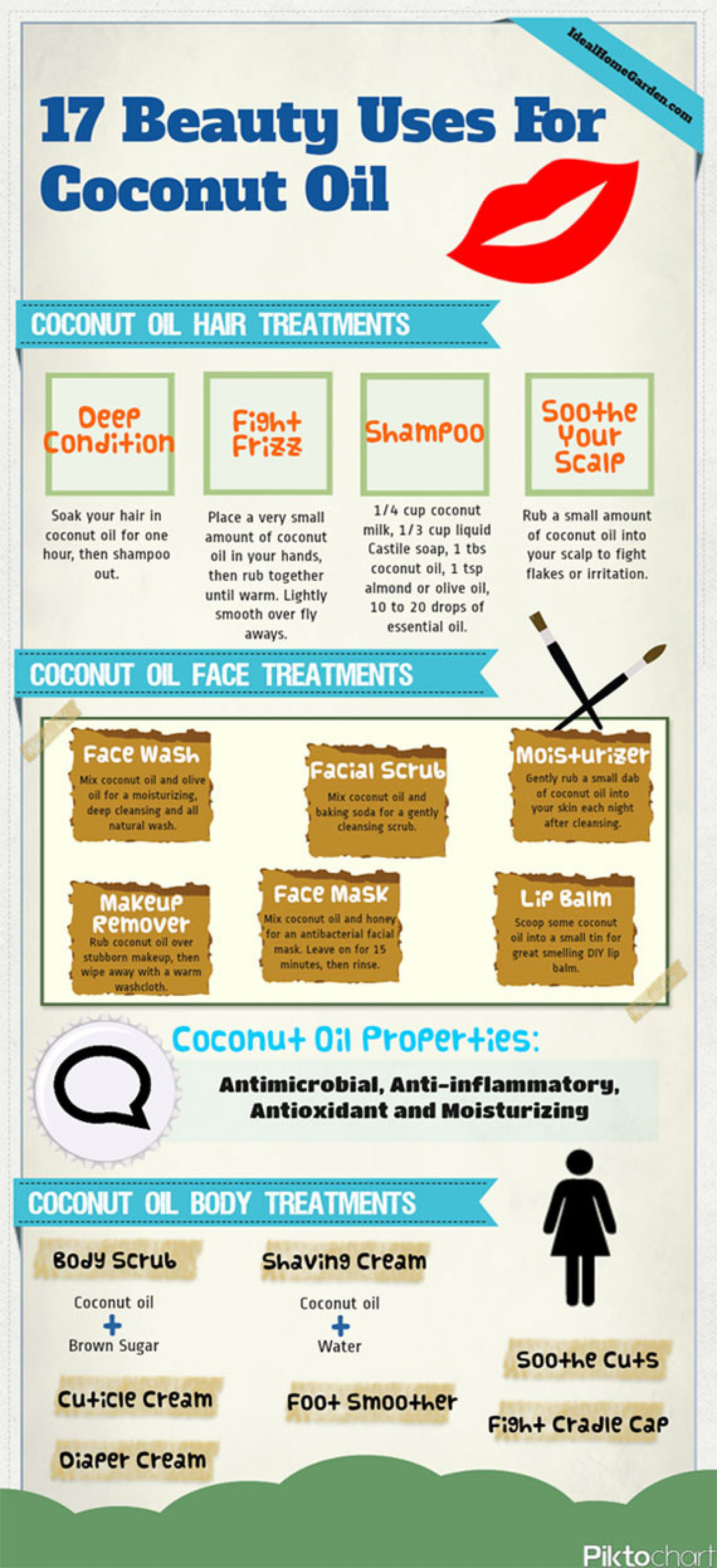 17 Beauty Uses for Coconut Oil Infographic