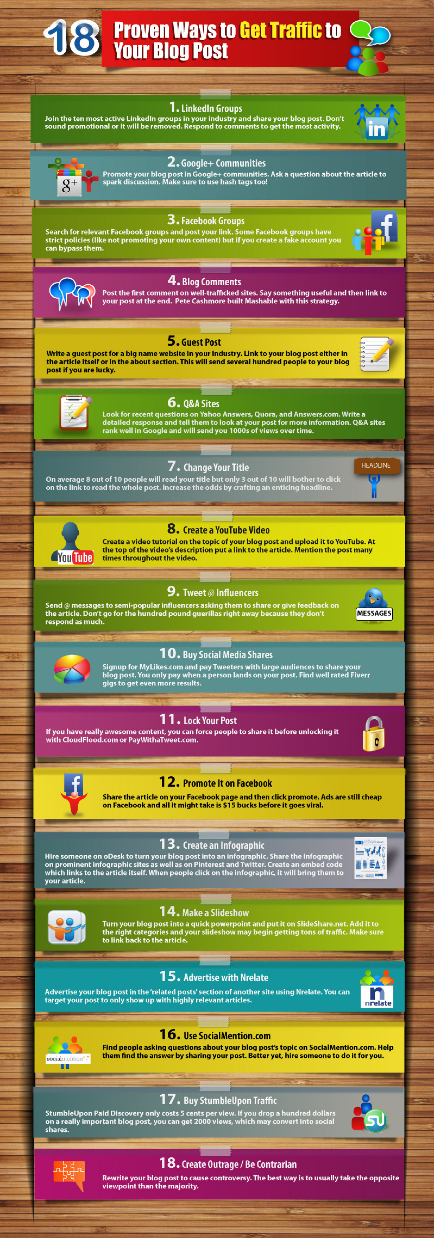 18 Proven Ways to Get Traffic to Your Blog Posst Infographic