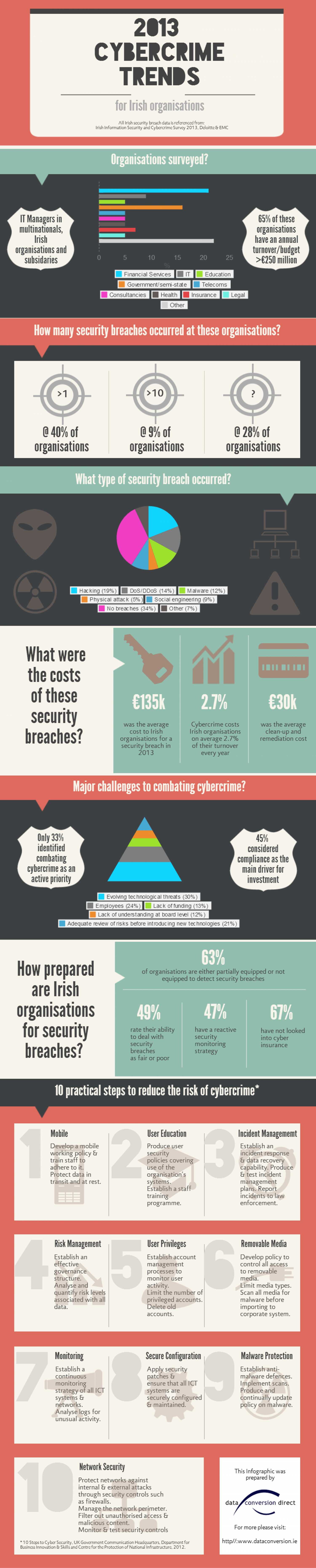2013 Cybercrime trends for Irish organisations Infographic