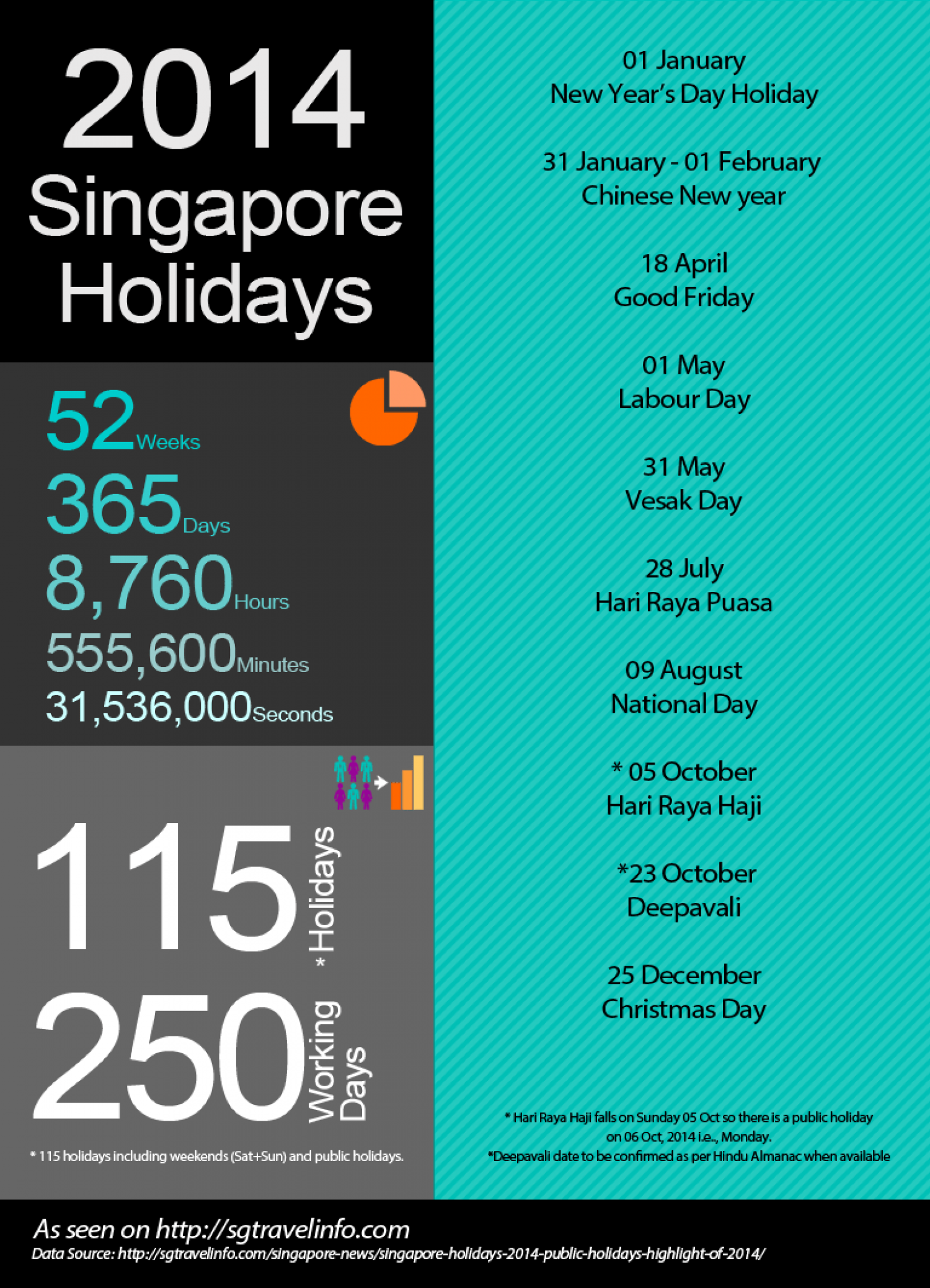 2014 Public Holidays in Singapore Infographic