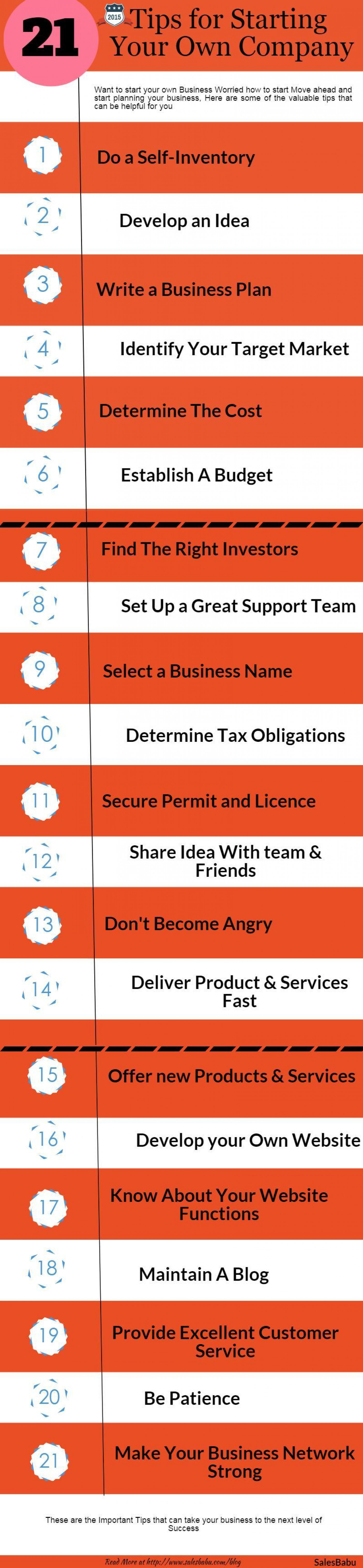 21 Tips for Starting Your Own Company Infographic