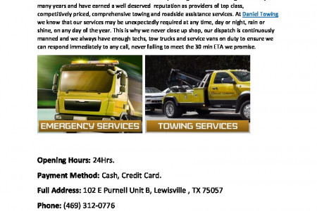 24hr Towing Services in Lewisville - Daniel Towing Infographic