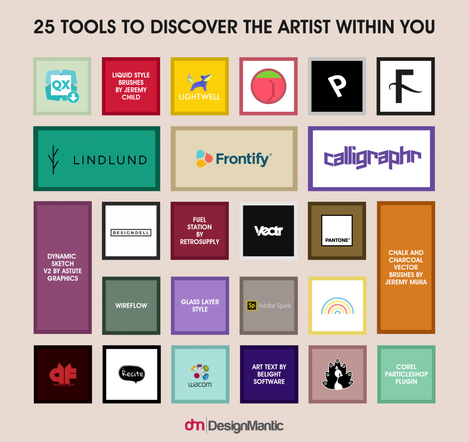 25 Design Tools To Discover The Artist Within You! Infographic