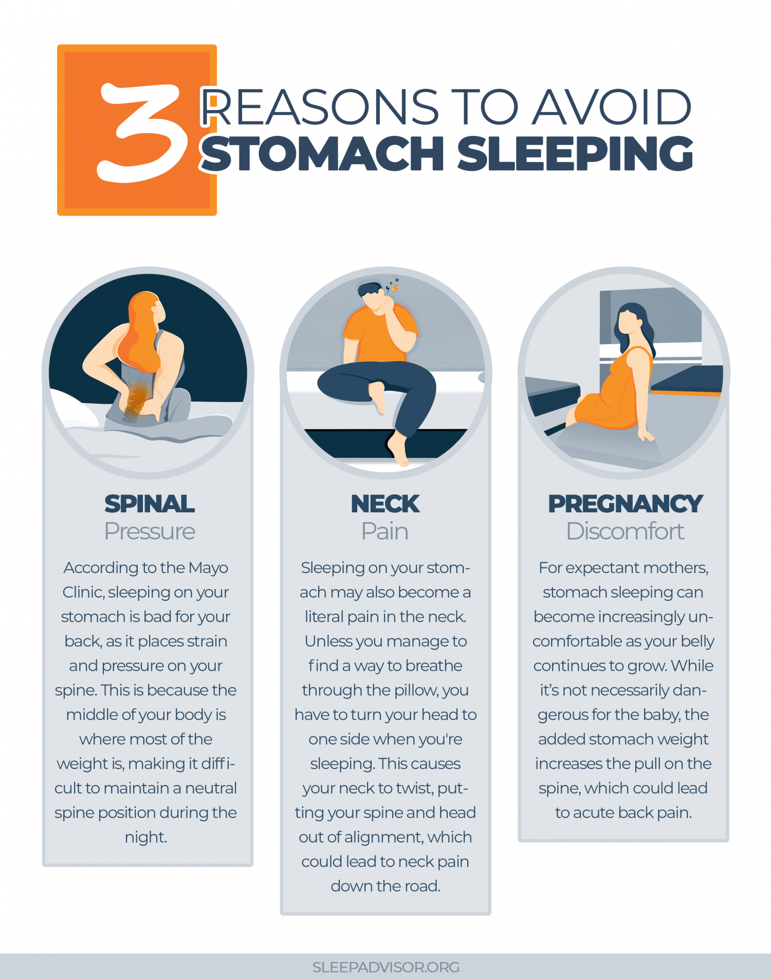 3 Reasons Why Sleeping On Your Stomach Is Bad For You Infographic