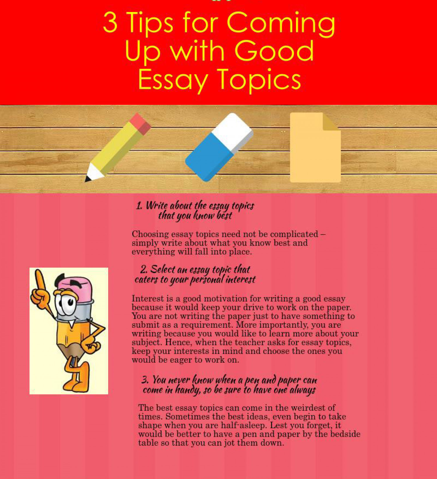 3 tips for coming up good essay topics visual ly 3 tips for coming up good essay topics infographic