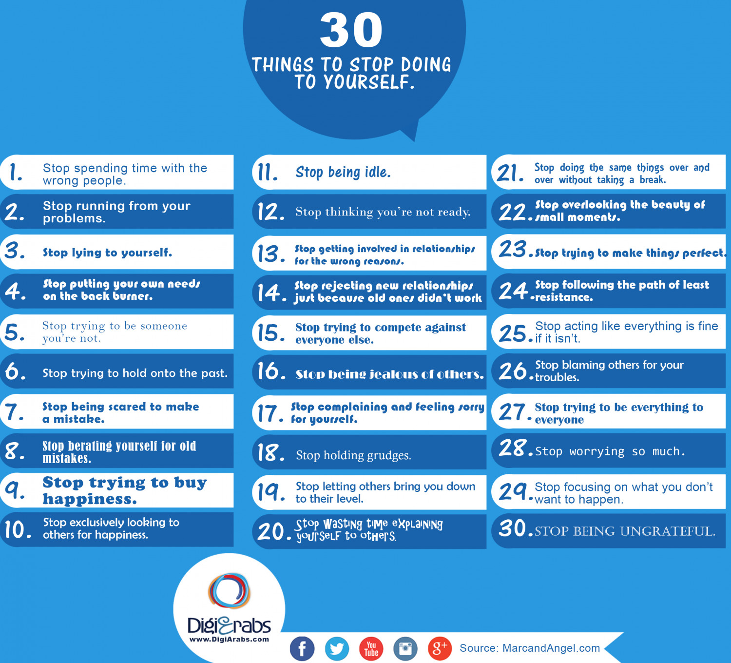 30 Things to Stop Doing to Yourself Infographic
