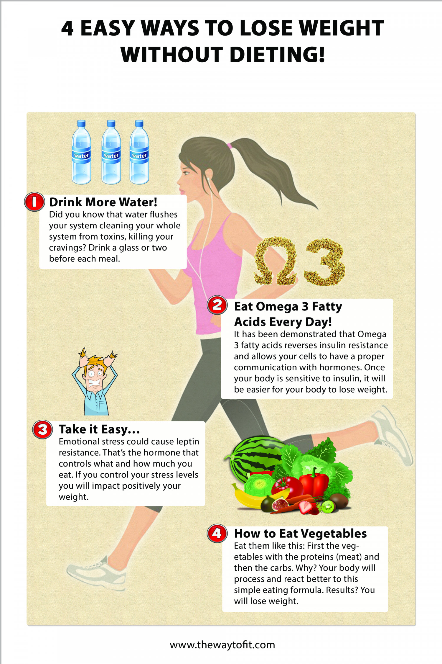 4 Easy Ways To Lose Weight Without Dieting! Infographic
