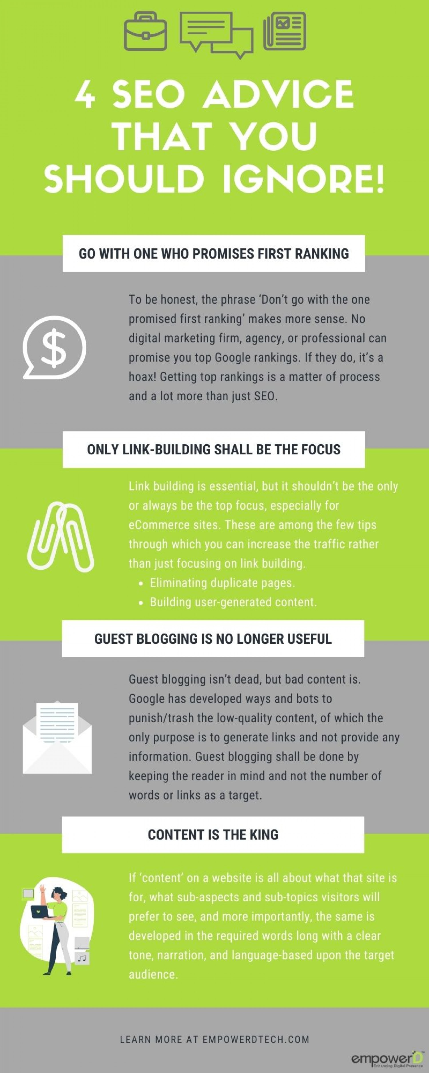 4 SEO Advice That Your Should IGNORE!!! Infographic