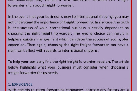 4 Things To Consider When Choosing A Freight Forwarder Infographic