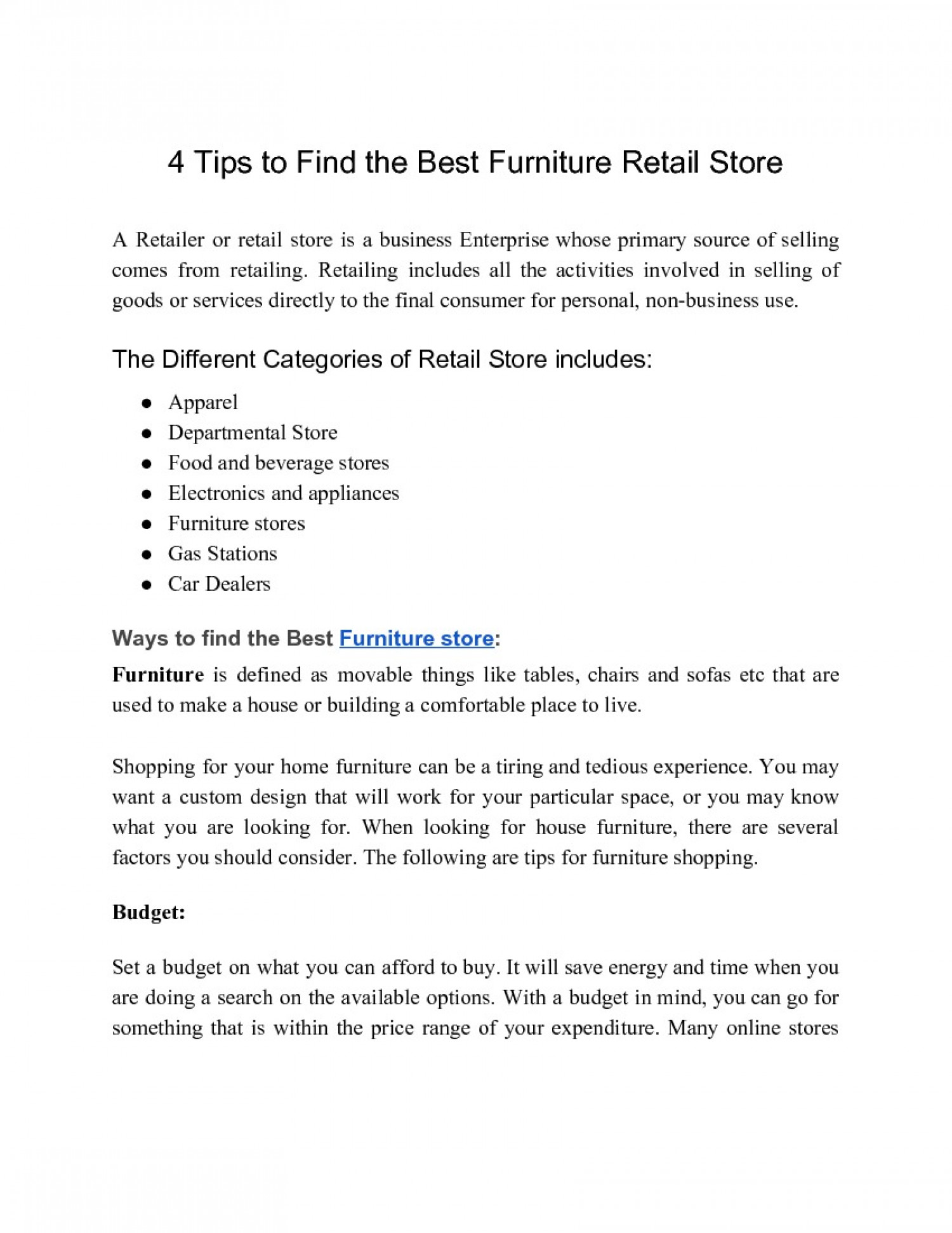 4 Tips to Find the Best Furniture Retail Store Infographic