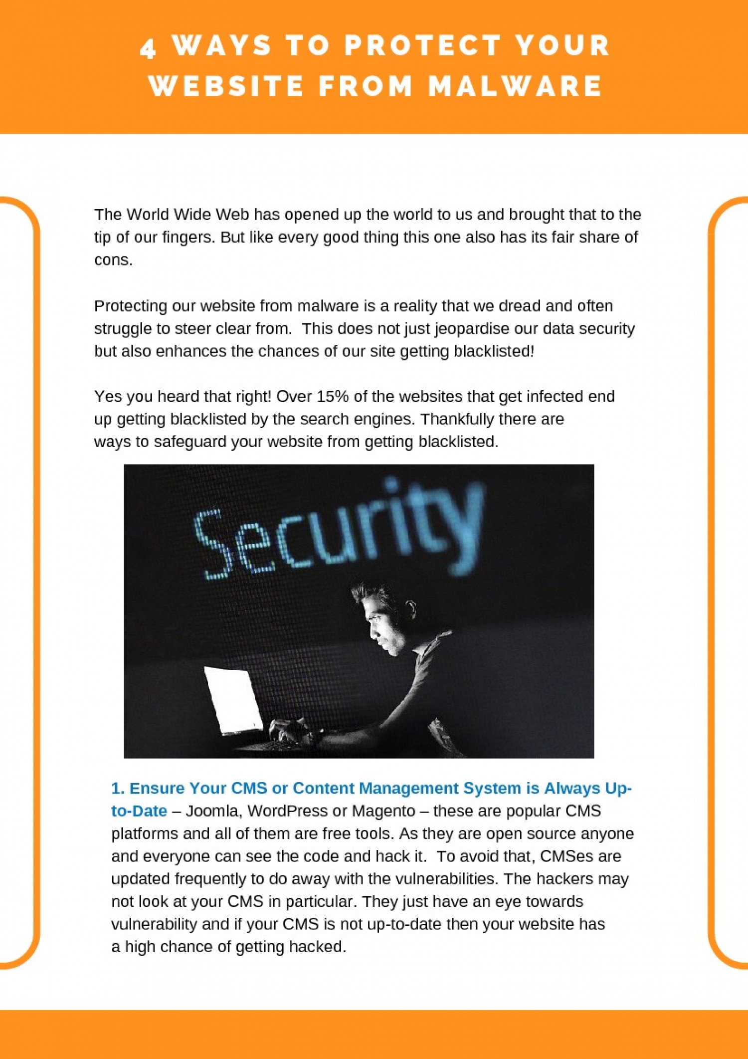 4 Ways to Protect Your Website from Malware Infographic