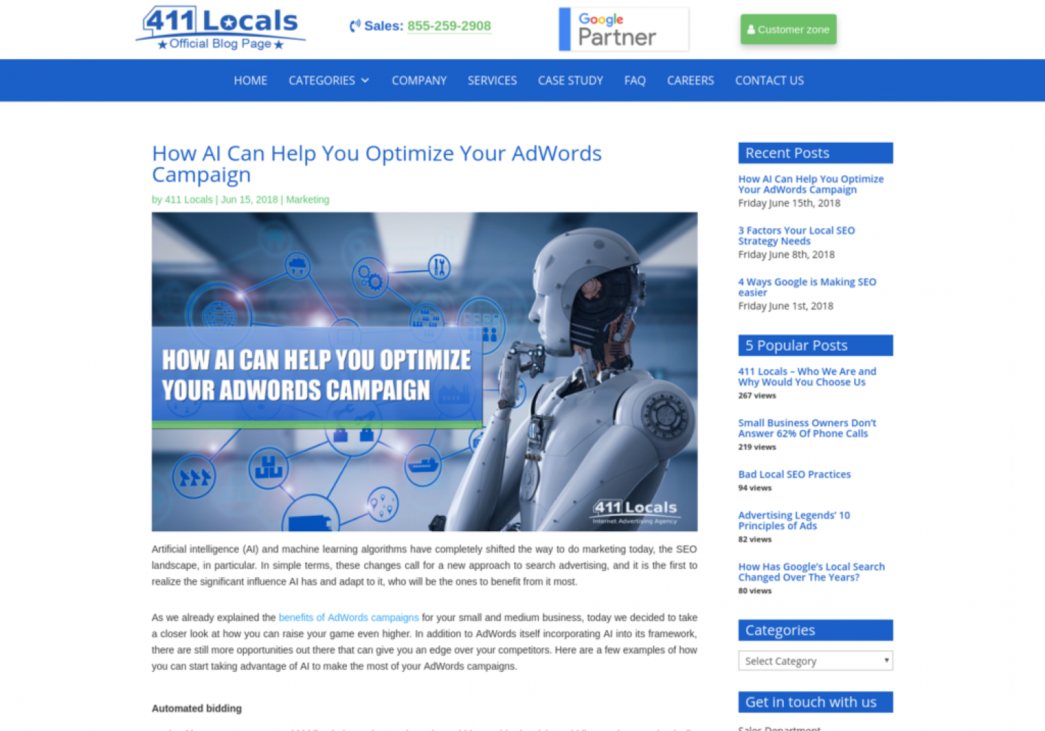 411 Locals: How AI Can Help You Optimize Your AdWords Campaign Infographic
