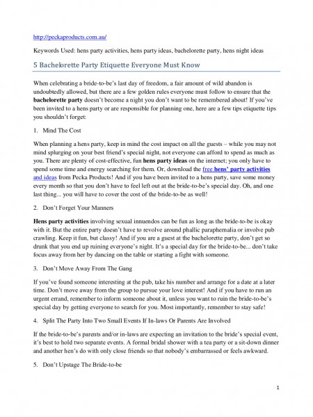 5 Bachelorette Party Etiquette Everyone Must Know Infographic